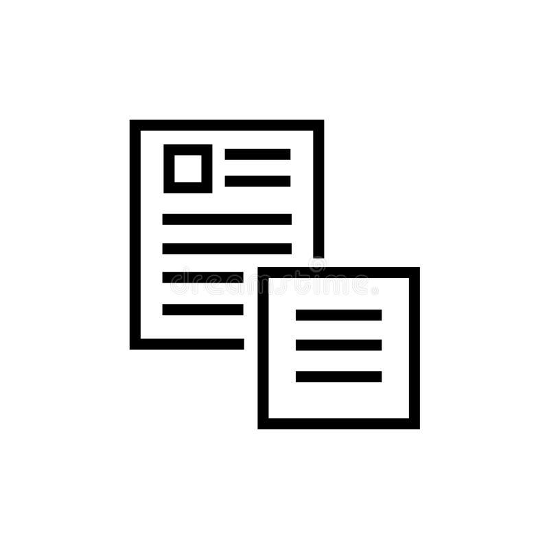 Segno e simbolo di vettore dell'icona di documenti isolati su fondo bianco, concetto di logo dei documenti illustrazione vettoriale