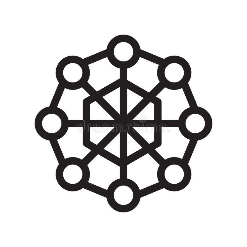 Segno e simbolo di vettore dell'icona di esagono isolati su fondo bianco illustrazione di stock