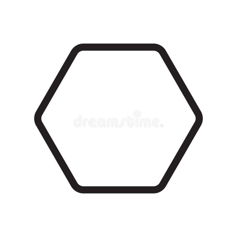 Segno e simbolo di vettore dell'icona di esagono isolati su fondo bianco royalty illustrazione gratis