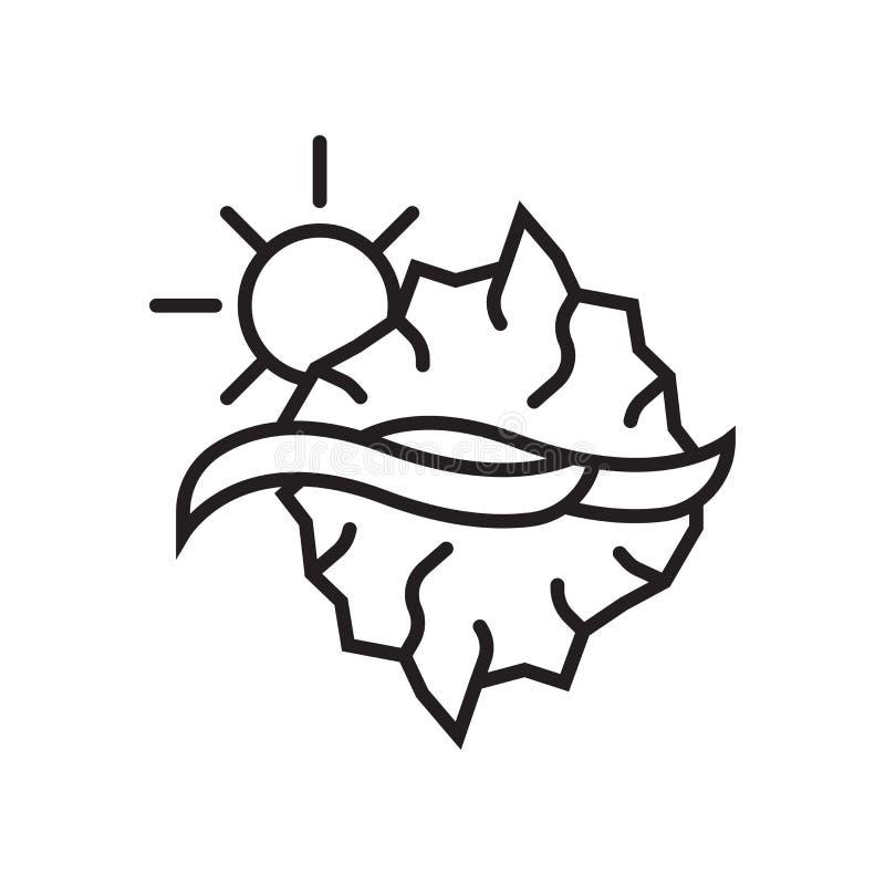 Segno e simbolo di vettore dell'icona dell'iceberg isolati su fondo bianco illustrazione vettoriale