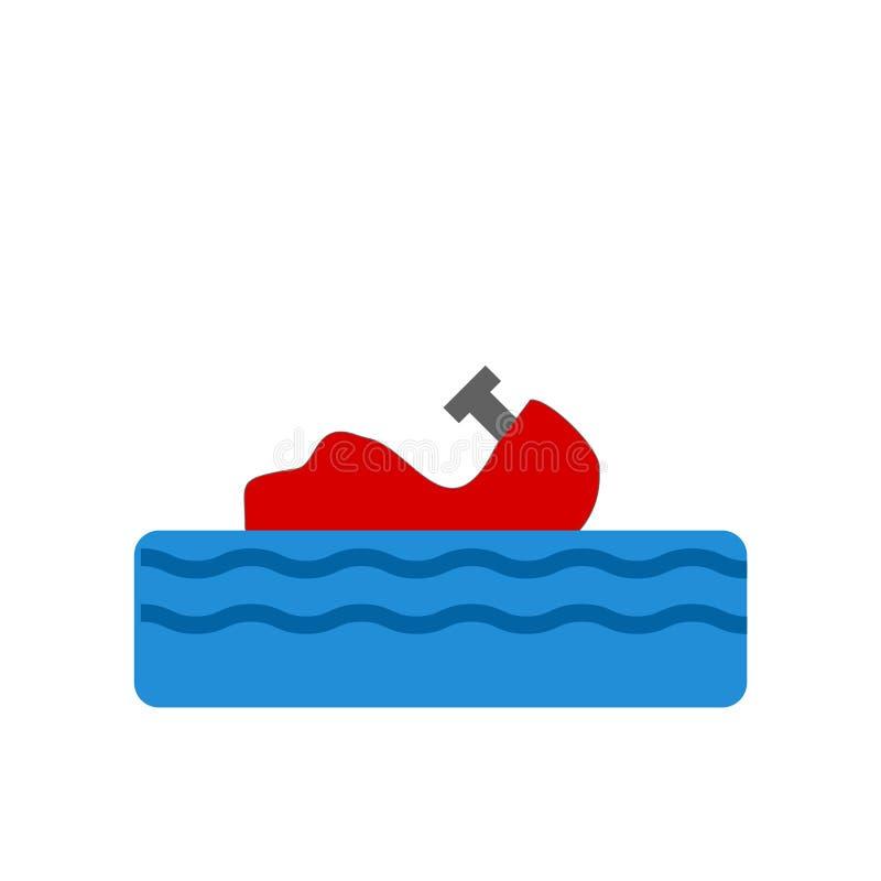 Segno e simbolo di vettore dell'icona dell'imbarcazione isolati su fondo bianco, concetto di logo dell'imbarcazione illustrazione di stock