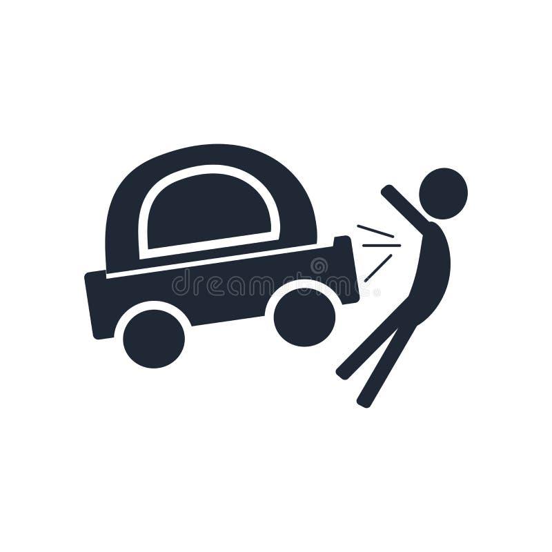 Segno e simbolo di vettore dell'icona di incidente isolati su backgroun bianco royalty illustrazione gratis