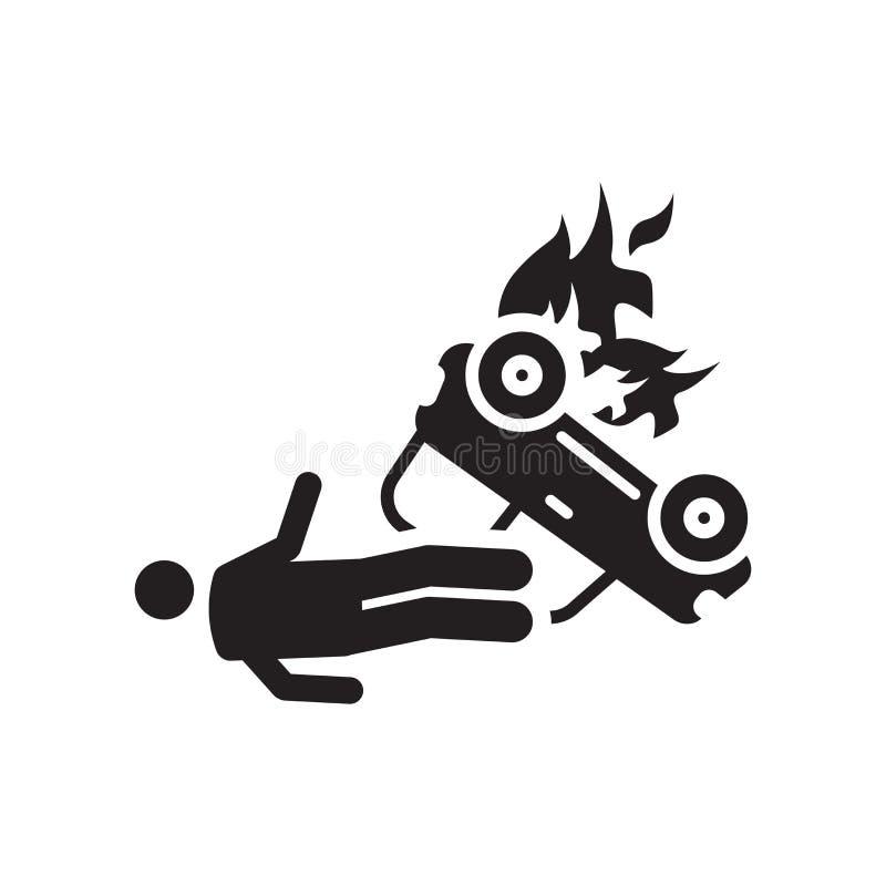 Segno e simbolo di vettore dell'icona di incidente isolati su fondo bianco, icona di concetto di logo di incidente illustrazione vettoriale