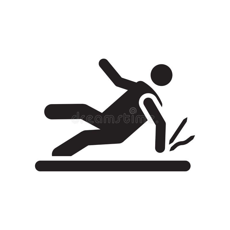 Segno e simbolo di vettore dell'icona di incidente isolati su fondo bianco, icona di concetto di logo di incidente illustrazione di stock