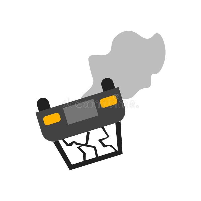 Segno e simbolo di vettore dell'icona di incidente isolati su fondo bianco, concetto di logo di incidente illustrazione di stock