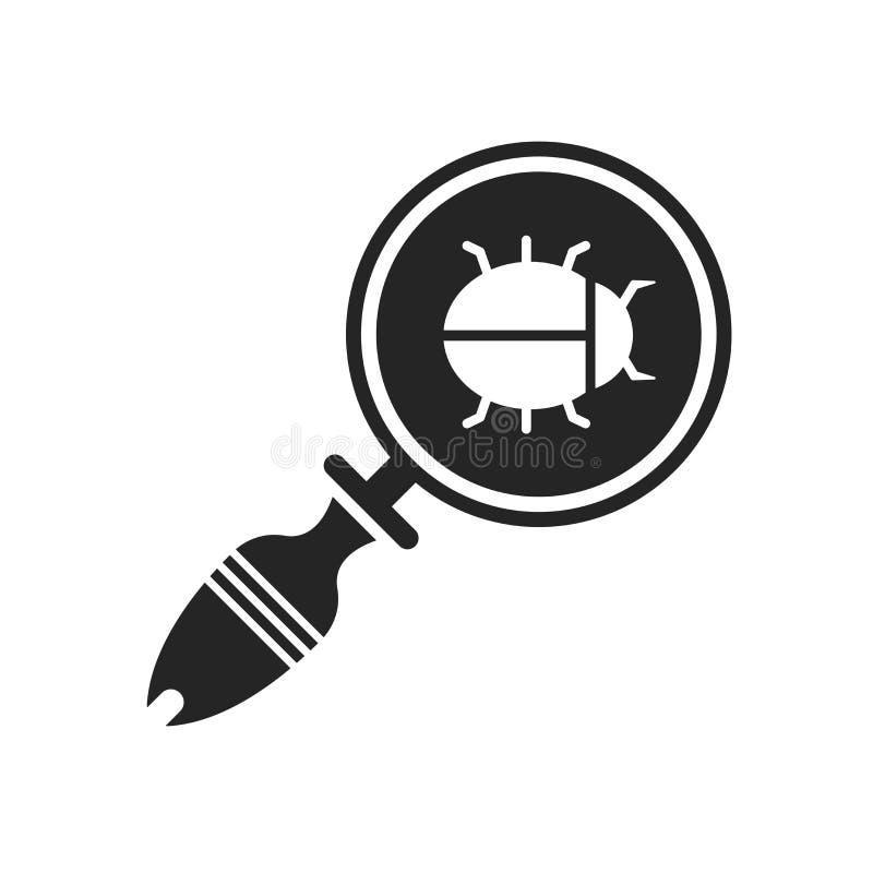 Segno e simbolo di vettore dell'icona dell'insetto di ricerca isolati sul backgro bianco illustrazione di stock