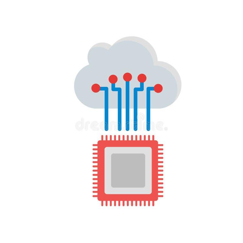 Segno e simbolo di vettore dell'icona di intelligenza artificiale isolati su fondo bianco illustrazione vettoriale