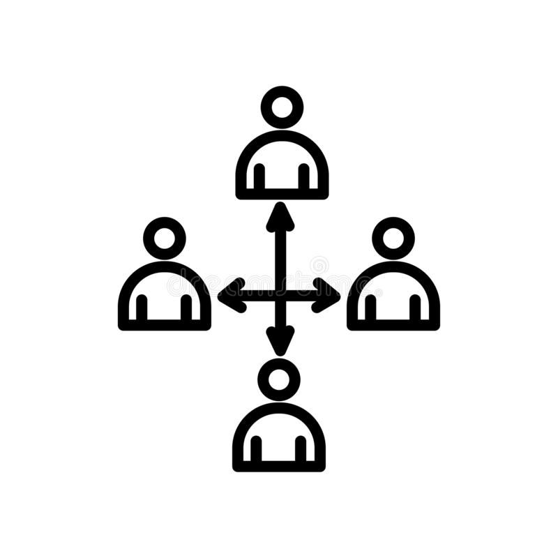 Segno e simbolo di vettore dell'icona di lavoro di squadra isolati su backgroun bianco illustrazione di stock