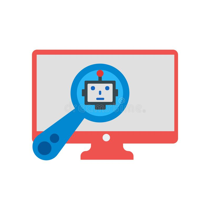 Segno e simbolo di vettore dell'icona di ricerca isolati su fondo bianco royalty illustrazione gratis