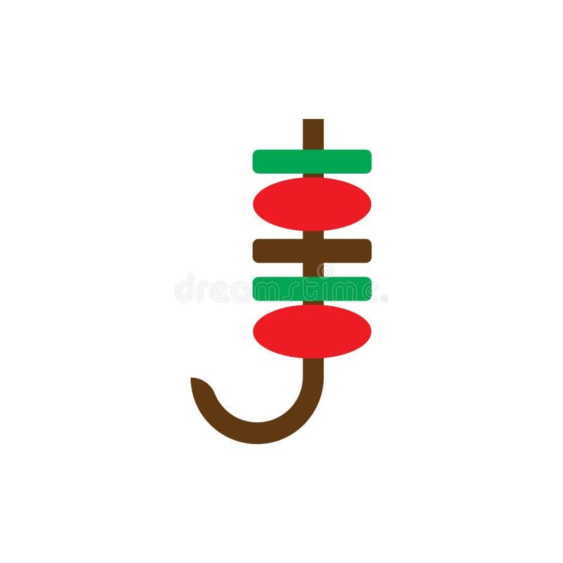 Segno e simbolo di vettore dell'icona di spiedo isolati su fondo bianco royalty illustrazione gratis