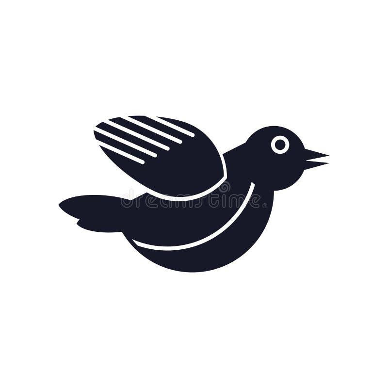 Segno e simbolo di vettore dell'icona dell'uccello isolati su fondo bianco, concetto di logo dell'uccello illustrazione di stock
