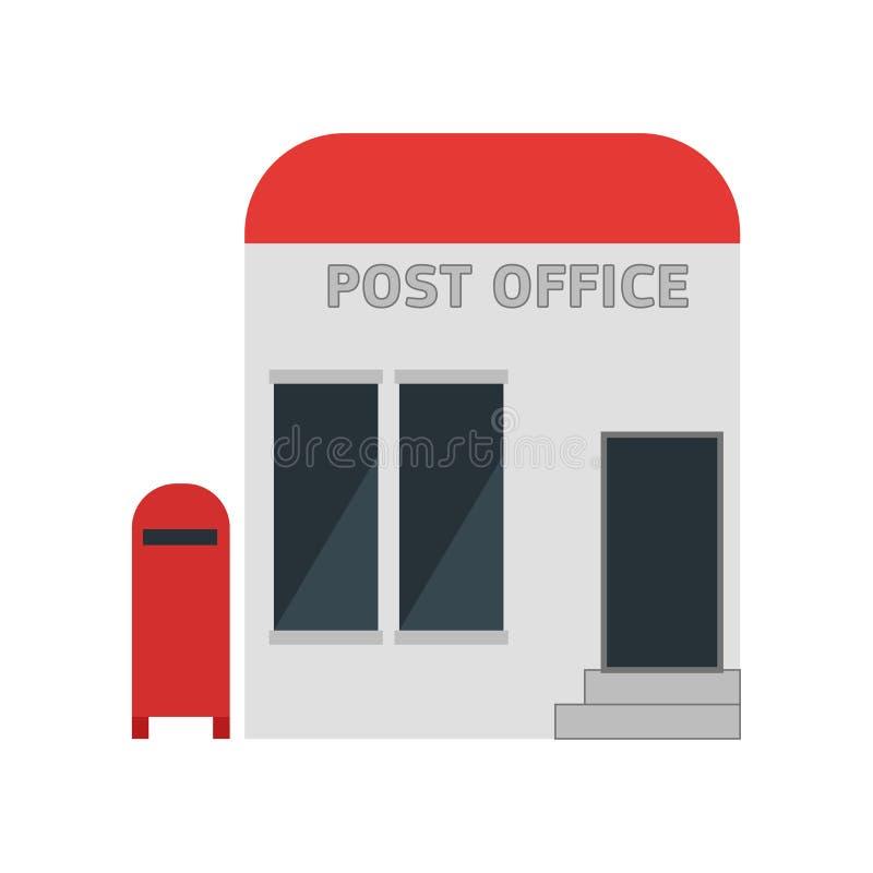 Segno e simbolo di vettore dell'icona dell'ufficio postale isolati su fondo bianco, concetto di logo dell'ufficio postale illustrazione vettoriale