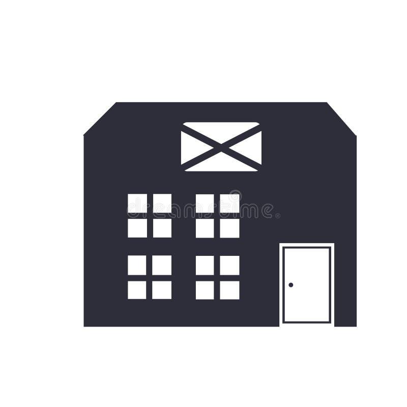 Segno e simbolo di vettore dell'icona dell'ufficio postale isolati su fondo bianco, concetto di logo dell'ufficio postale illustrazione di stock