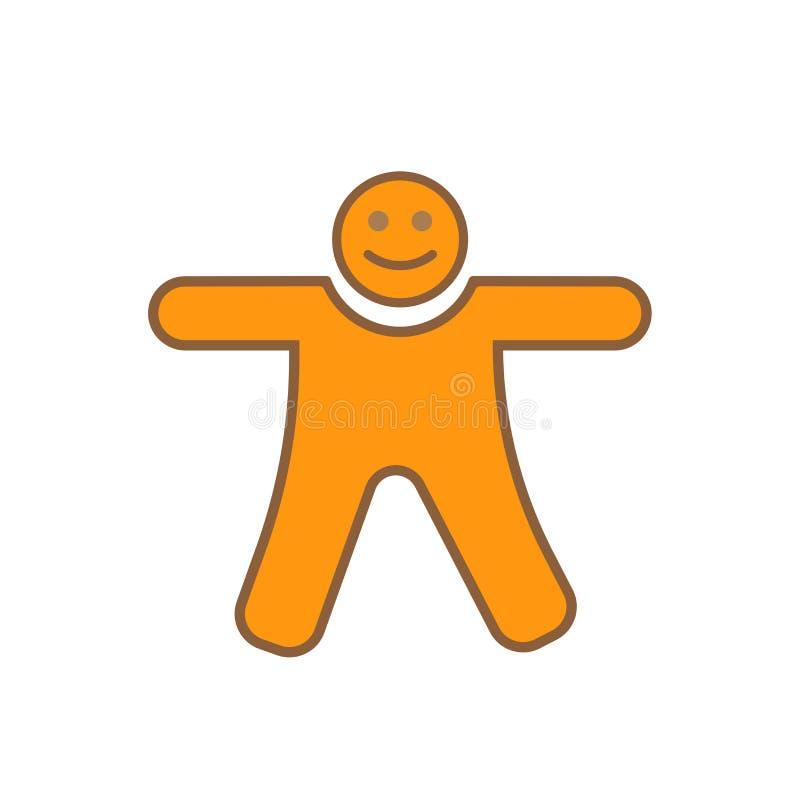 Segno e simbolo di vettore dell'icona dell'uomo di pan di zenzero isolati su fondo bianco royalty illustrazione gratis