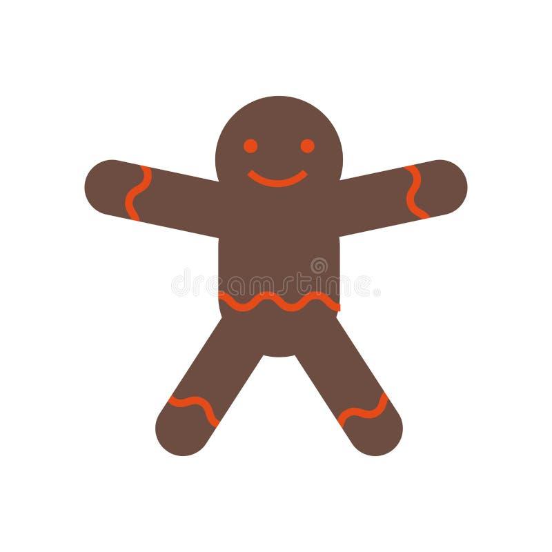 Segno e simbolo di vettore dell'icona dell'uomo di pan di zenzero isolati su fondo bianco, concetto di logo dell'uomo di pan di z illustrazione di stock