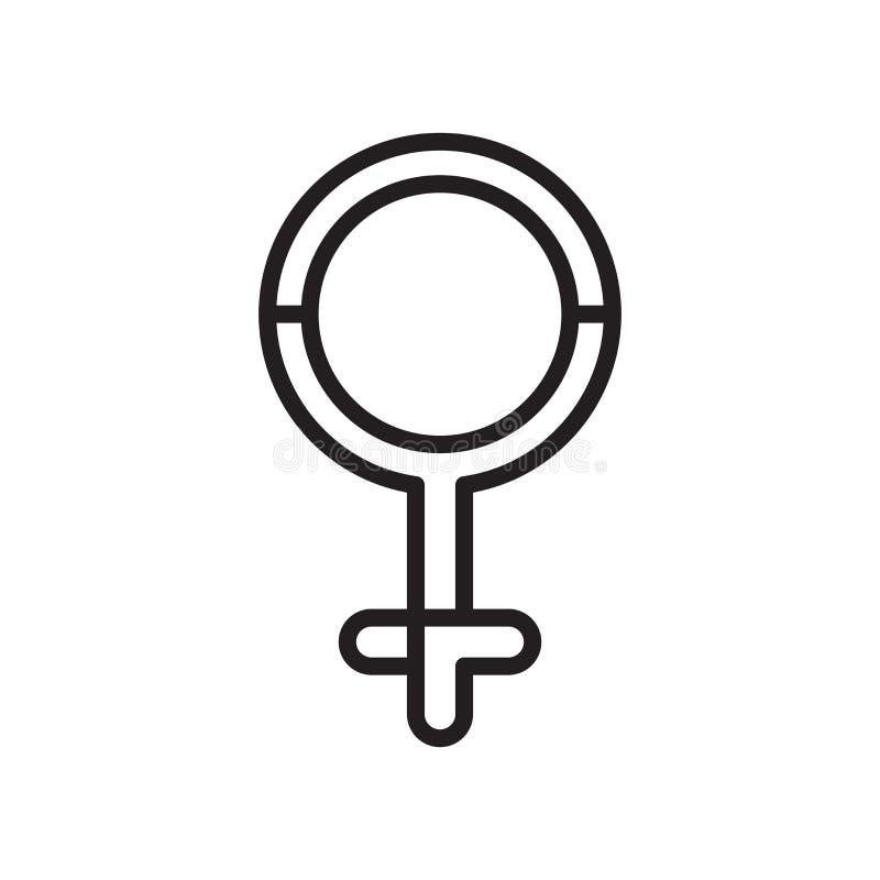 Segno e simbolo di vettore dell'icona di Venere isolati su fondo bianco illustrazione vettoriale