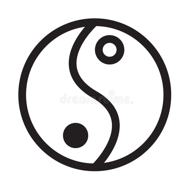 Segno e simbolo di vettore dell'icona di yang e di Yin isolati su backg bianco illustrazione di stock