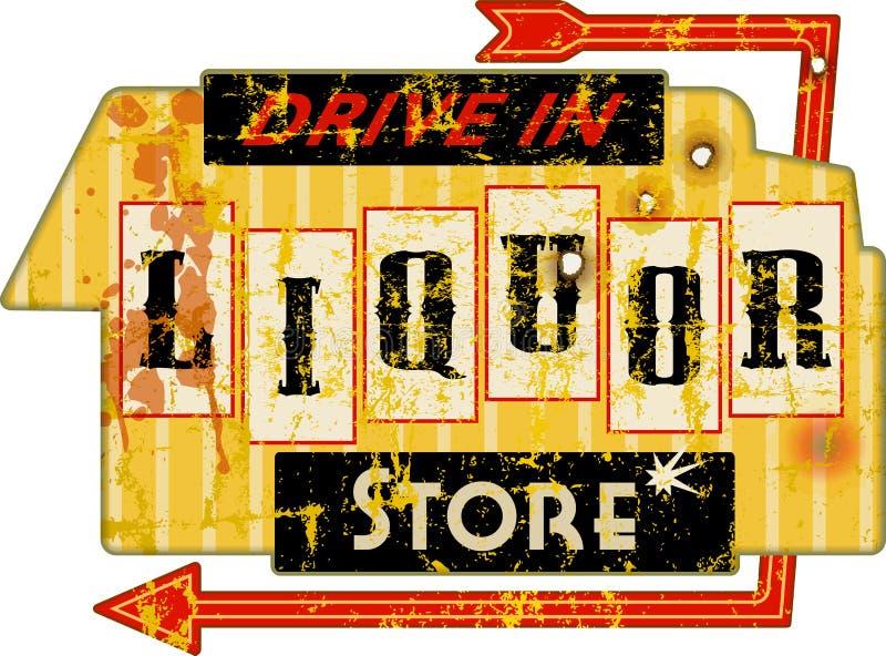 Segno eccellente americano d'annata del negozio di alcolici di lerciume, illustrazione di vettore illustrazione vettoriale
