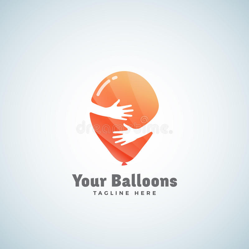 Segno, emblema o Logo Template astratto di vettore dei palloni Pallone nel concetto negativo dello spazio delle mani illustrazione di stock
