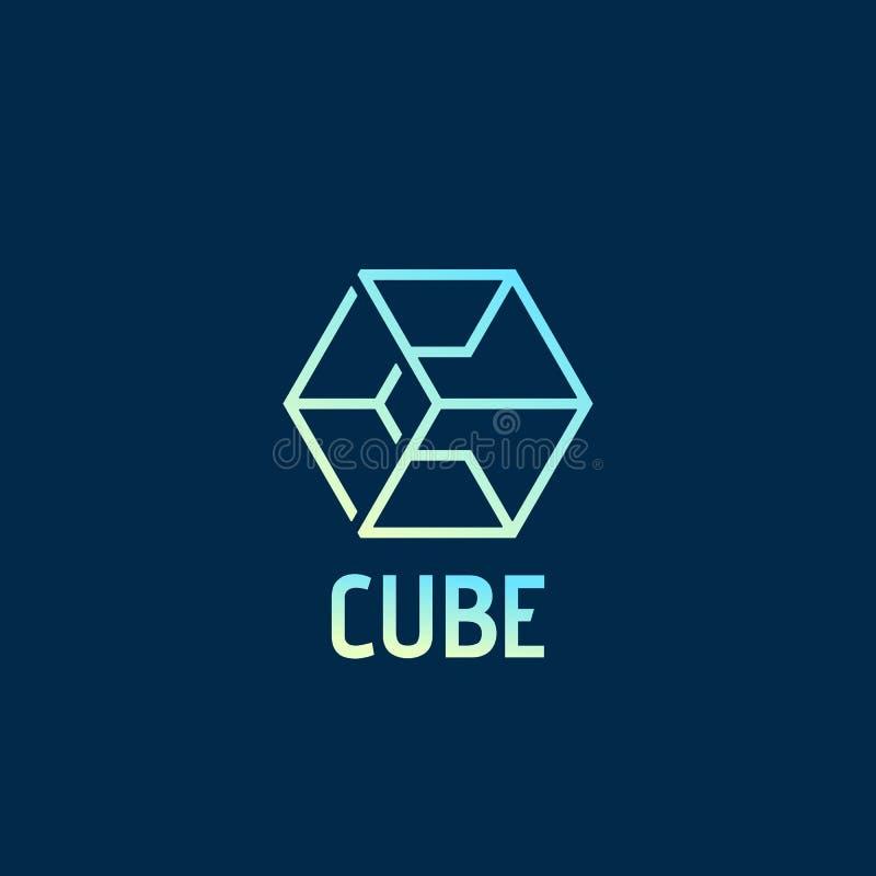 Segno, emblema o Logo Template astratto di vettore del cubo Lettera C compresa in un simbolo della geometria con tipografia su bu illustrazione vettoriale