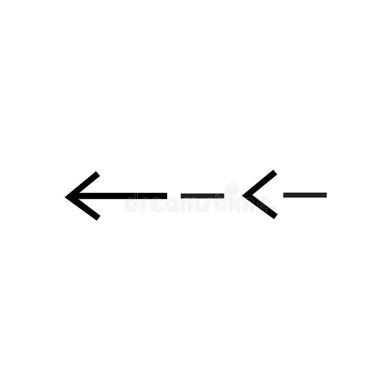 Segno esile e simbolo sinistri di vettore dell'icona isolati su fondo bianco, concetto sinistro esile di logo illustrazione di stock