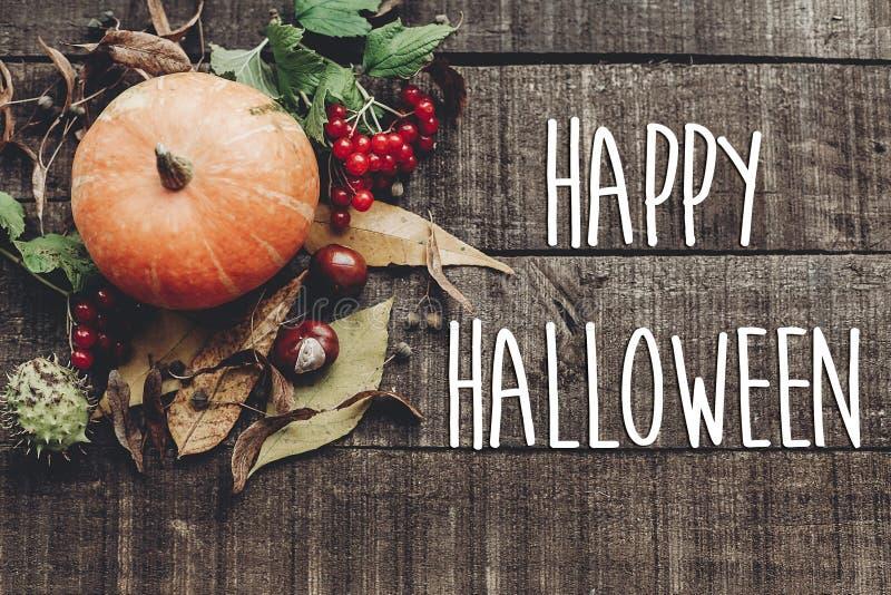 Segno felice del testo di Halloween, cartolina d'auguri disposizione del piano di immagine di caduta B immagine stock