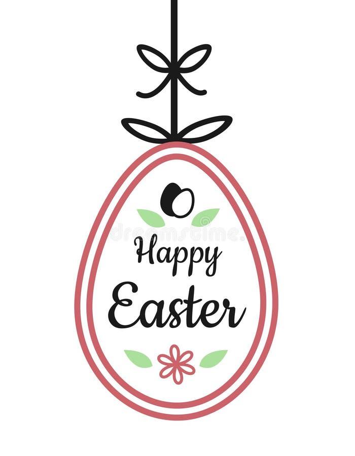 Segno felice del testo di pasqua sull'attaccatura dell'uovo di Pasqua con il fiore e la costola royalty illustrazione gratis