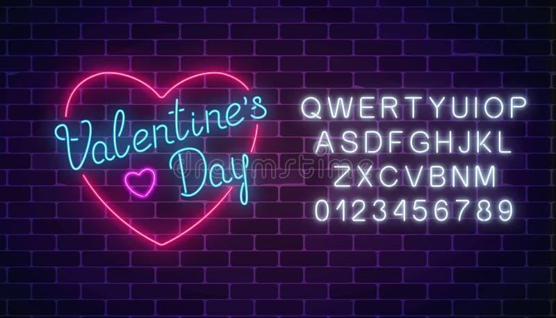 Segno festivo d'ardore al neon felice di giorno di biglietti di S. Valentino nella forma del cuore con l'alfabeto Cartolina d'aug illustrazione vettoriale