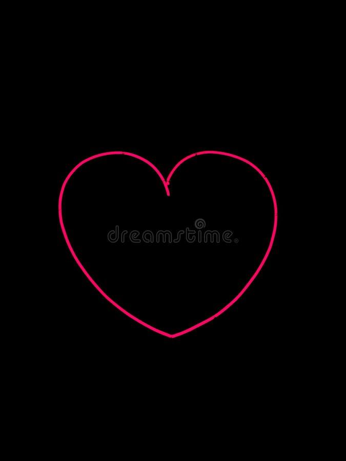 segno a forma di al neon del cuore immagine stock