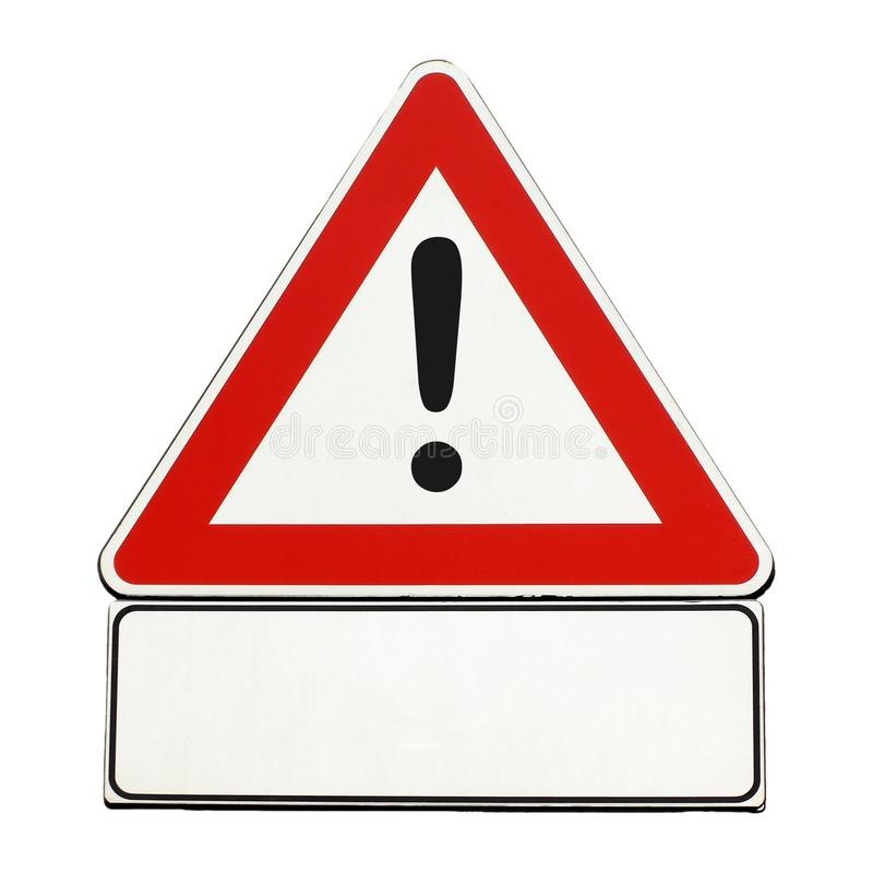 segno generico in bianco di cautela isolato sopra bianco illustrazione di stock