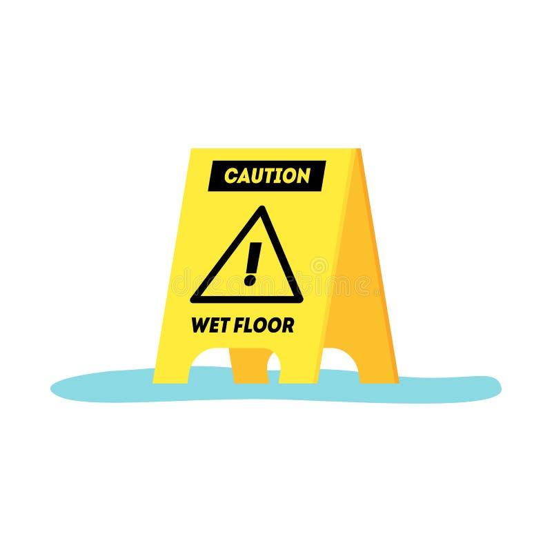 Segno giallo del pavimento bagnato di cautela del fumetto Vettore royalty illustrazione gratis