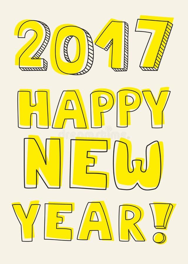 Segno giallo disegnato a mano di vettore del buon anno 2017 illustrazione di stock