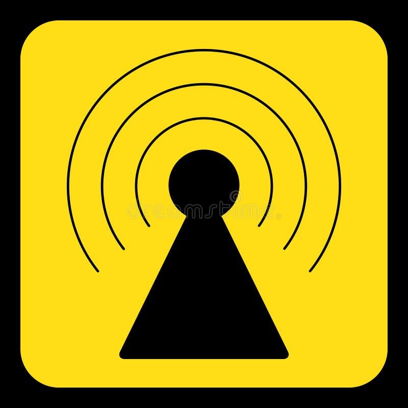 Segno giallo e nero - icona della torre del trasmettitore illustrazione di stock