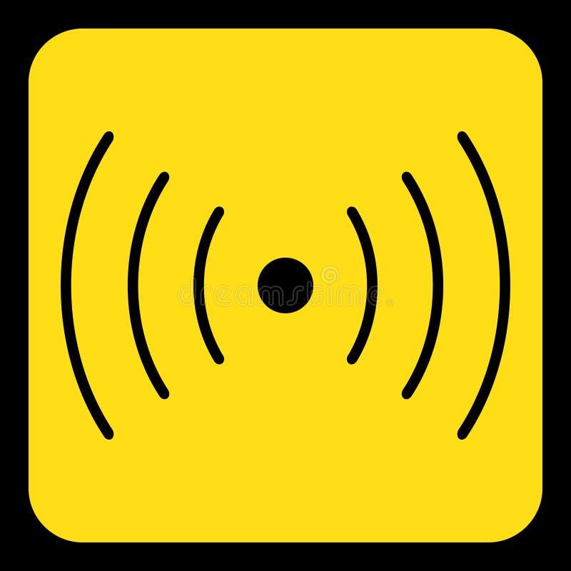 Segno giallo e nero - suoni, icona di simbolo di vibrazione royalty illustrazione gratis