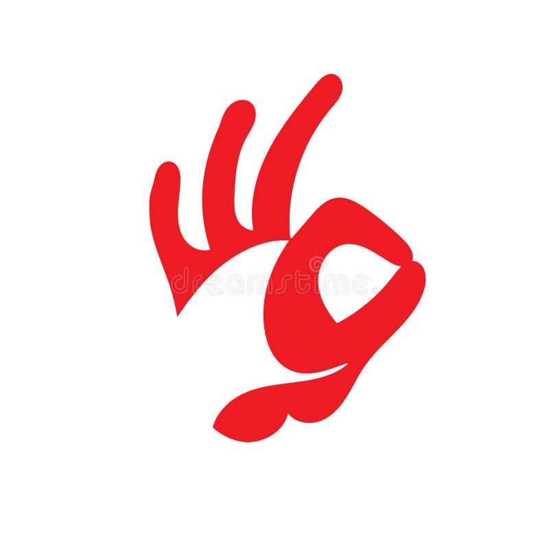 Segno GIUSTO della mano Progettazione della testa di un gallo fotografia stock libera da diritti