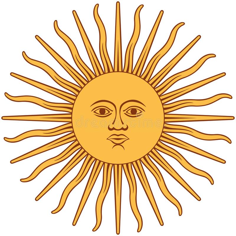 Segno grafico di Sun Il dio di inca del sole illustrazione di stock