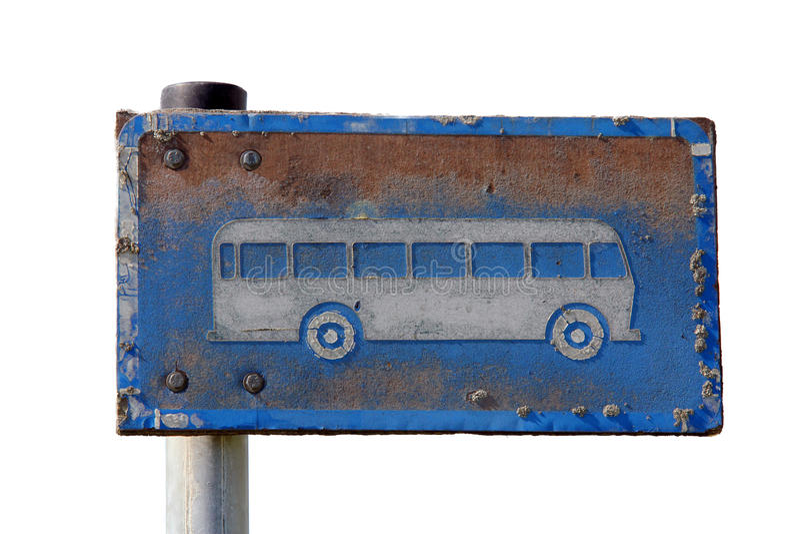 Segno Grungy della fermata dell'autobus isolato sopra bianco immagine stock