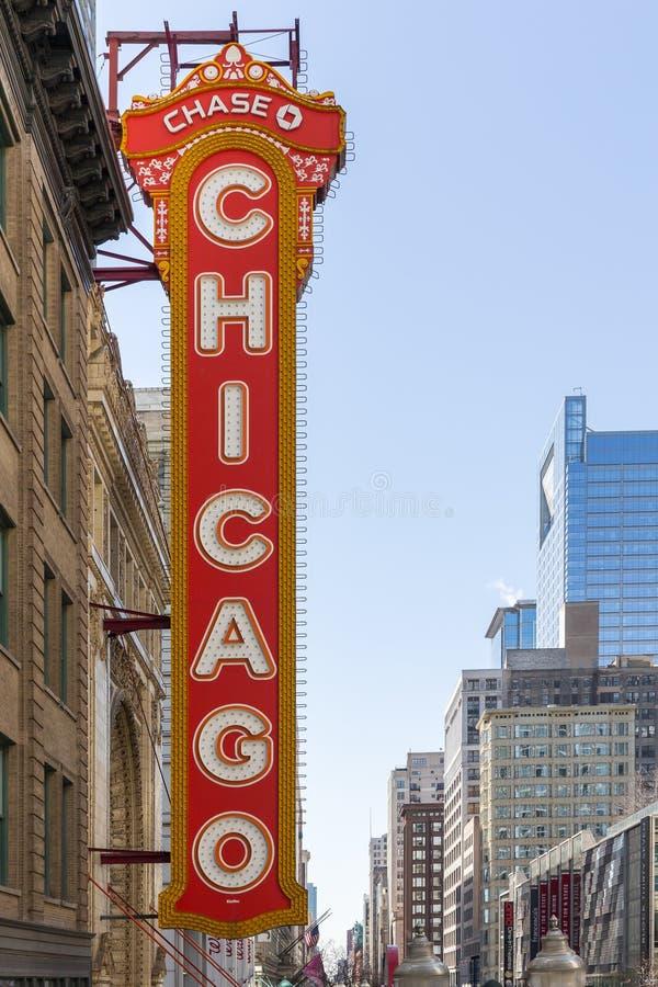 Segno iconico del teatro di Chicago immagine stock libera da diritti