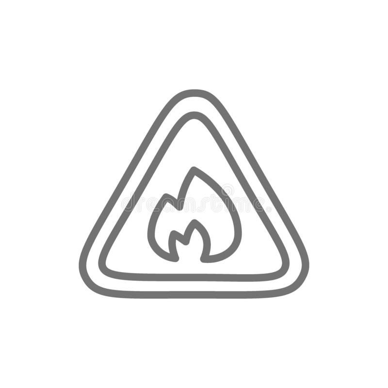 Segno infiammabile, antincendio, nessuna linea di fuoco icona illustrazione vettoriale