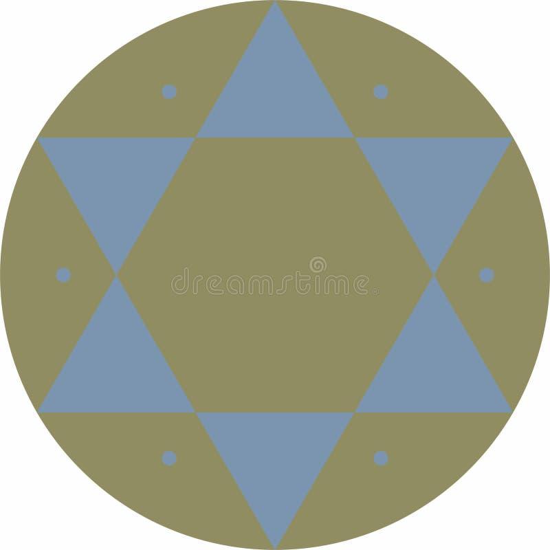 Segno islamico di medio evo con lo schema di colore di medio evo con il blu ed il verde illustrazione di stock