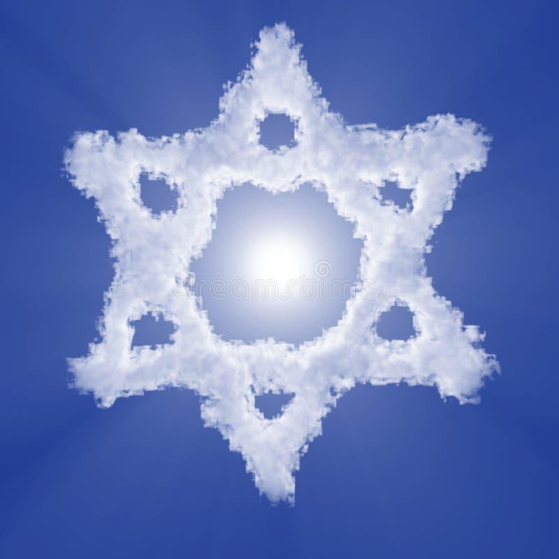 Segno israeliano della nuvola di stella di Davide con la luce del volume su cielo blu e sul sole illustrazione 3D royalty illustrazione gratis