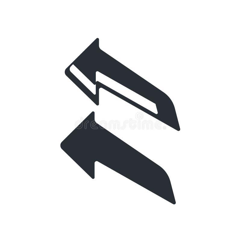 Segno lasciato e simbolo di vettore dell'icona della freccia della curva isolati su fondo bianco, concetto sinistro di logo della illustrazione di stock