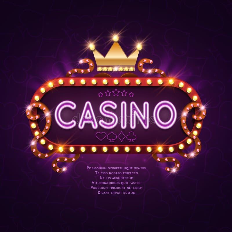 Segno leggero del casinò di Vegas retro per l'illustrazione di vettore del fondo del gioco illustrazione di stock