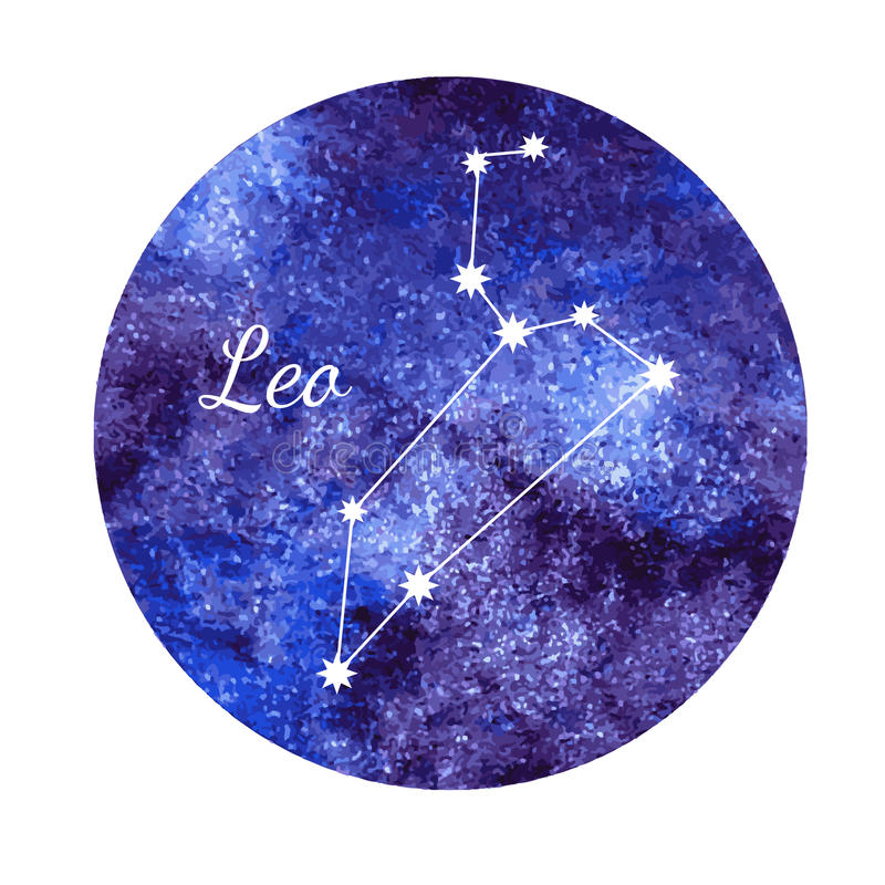 Segno Leo dell'oroscopo dell'acquerello illustrazione vettoriale