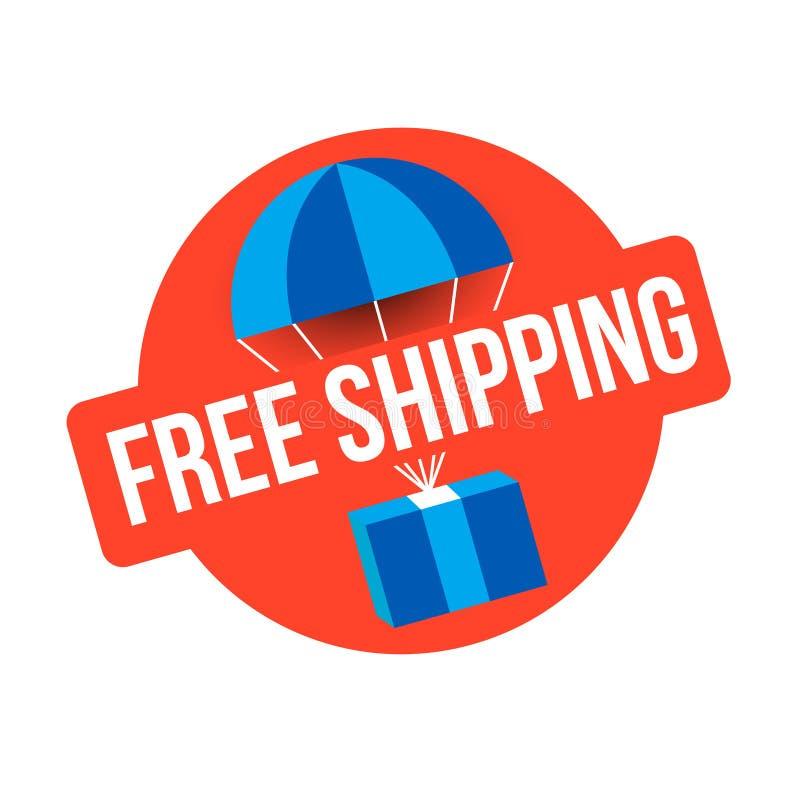 Segno libero di rosso di trasporto emblema di consegna del pacchetto illustrazione vettoriale