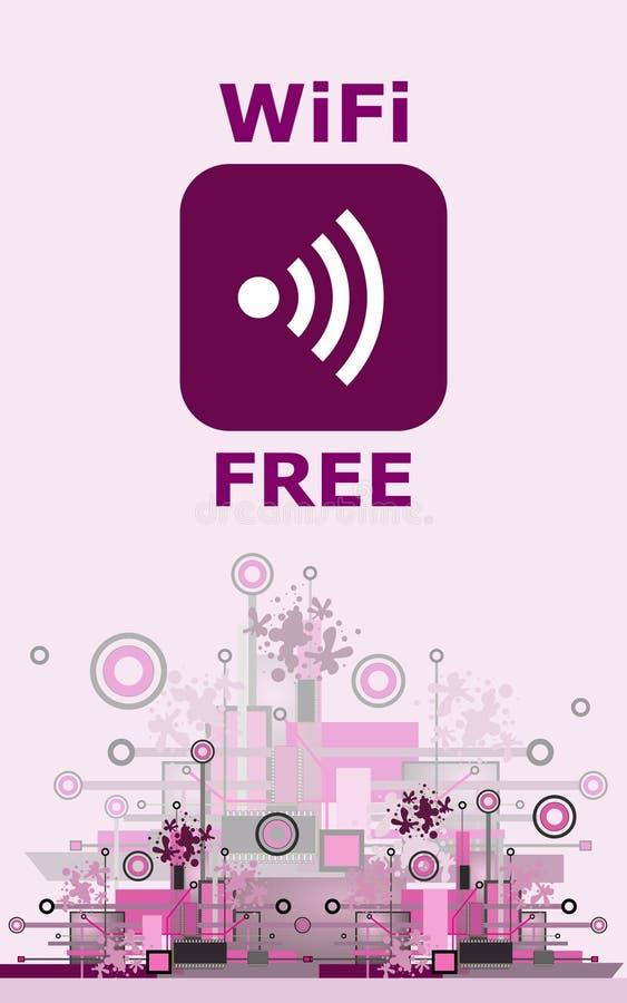 Segno libero di Wifi con l'icona quadrata di stile sul fondo di Ciao-tecnologia illustrazione di stock