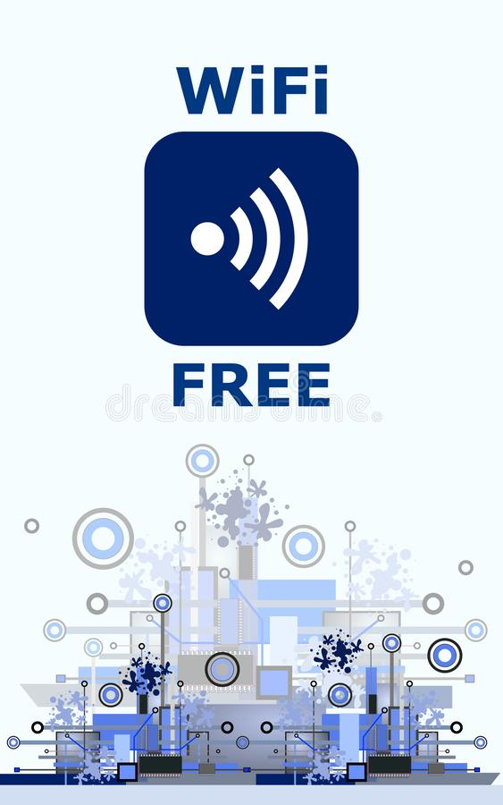 Segno libero di Wifi con l'icona quadrata di stile sul fondo di Ciao-tecnologia illustrazione vettoriale