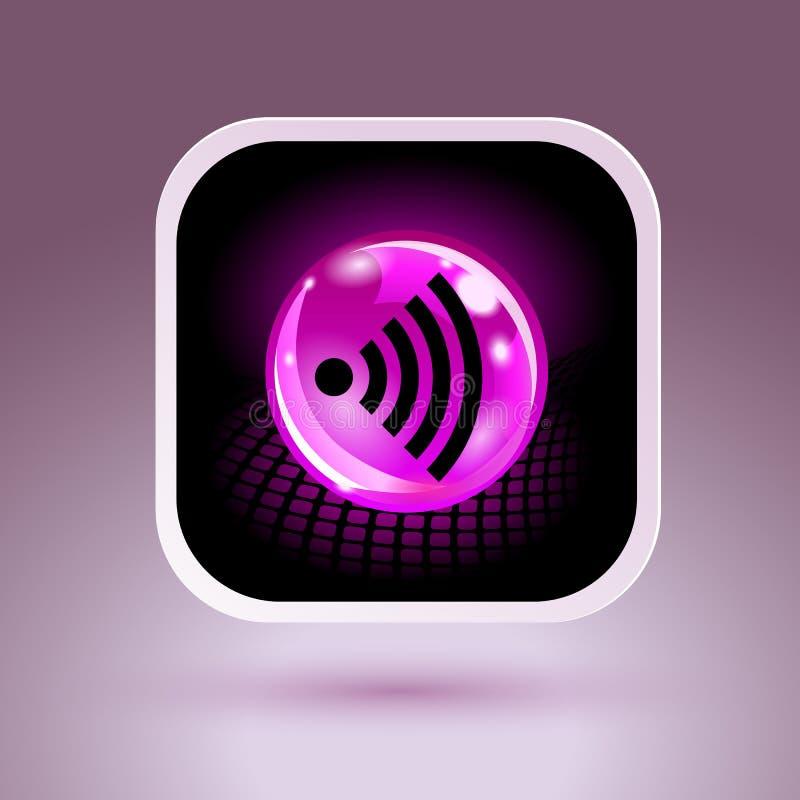 Segno libero di Wifi con l'icona quadrata di stile illustrazione di stock