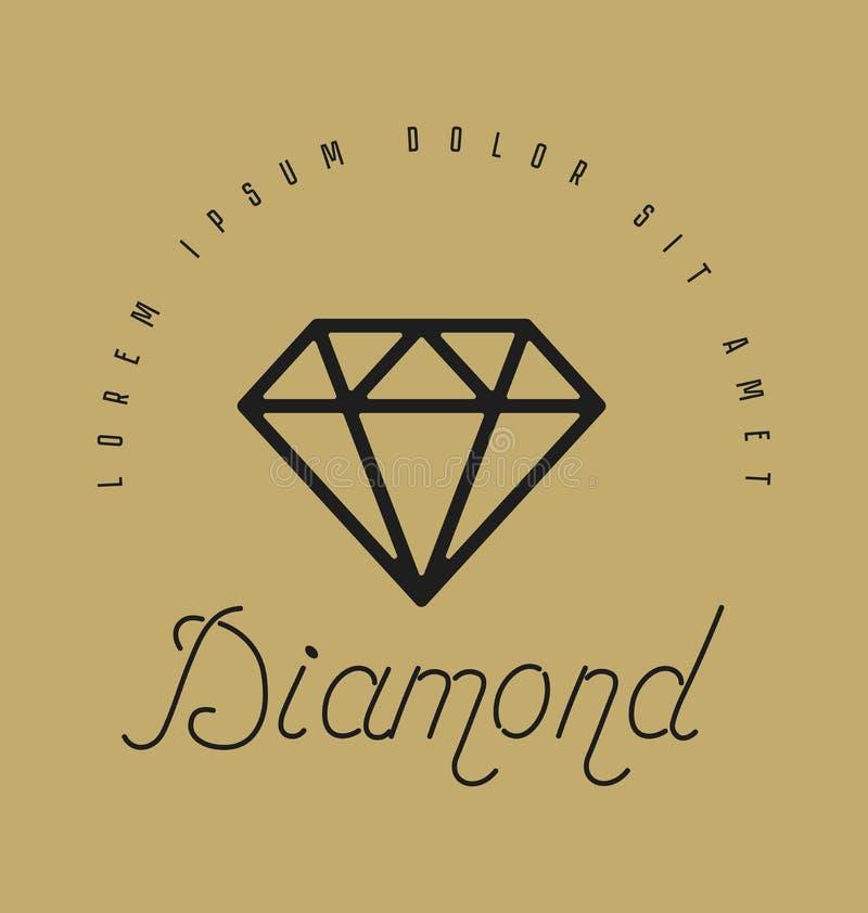 Segno lineare del diamante Icona o progettazione di logo Illustrazione di vettore H illustrazione vettoriale