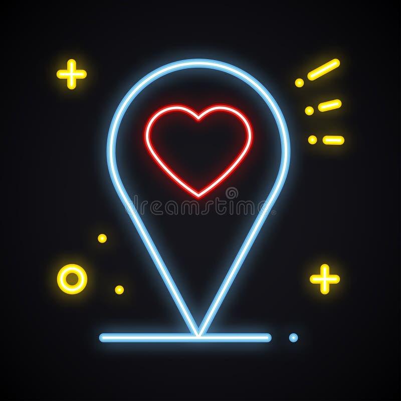 Segno luminoso al neon di posizione su fondo scuro Simbolo del puntatore del perno della mappa nearsighted Figura d'ardore del cu illustrazione di stock